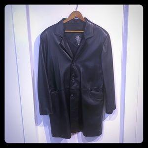 Vera Pelle Italian design leather long blazer